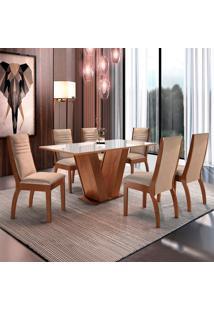 Conjunto De Mesa De Jantar Classic Com 6 Cadeiras Excelence L Suede Off White E Bege