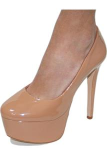 Scarpin Liszy Bico Redondo High Heels Nude