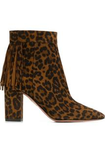 Aquazzura Ankle Boot Regent Com Estampa De Leopardo - Marrom