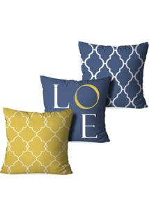 Kit 3 Capas Love Decor Para Almofadas Decorativas Love Multicolorido Amarelo - Kanui