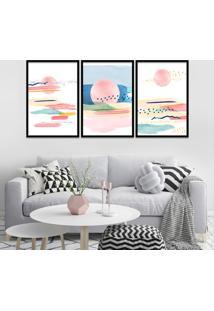 Quadro 60X120Cm Abstrato Nórdico Goizean Moldura Preta Com Vidro Decorativo Interiores