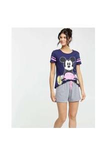 Pijama Feminino Mickey Listrado Manga Curta Disney