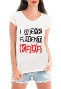 Blusa Criativa Urbana Speak Kpop T Shirt - Feminino-Branco