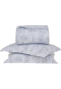 Conjunto De Colcha Brooklyn King Size- Branco & Azul Escbuddemeyer