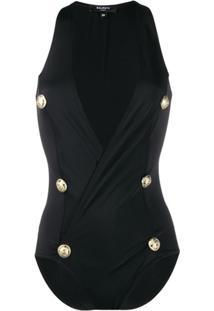 Balmain Decorative Buttons Wrap Swimsuit - Preto