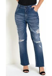 Calça Jeans Eventual Reta Com Rasgos E Puídos