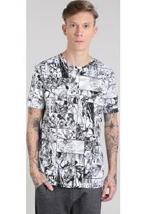 Camiseta Masculina Os Vingadores Estampada Quadrinhos Manga Curta Gola Careca Branca