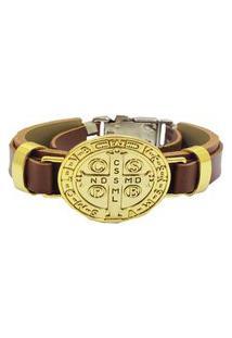 Bracelete Medalha De São Bento Dourado.