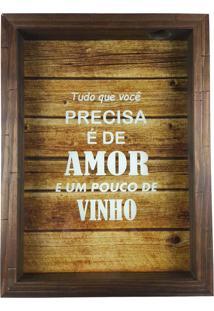 Quadro Porta Rolhas Rústico Tudo Que Você Precisa É De Amor E Um Pouco De Vinho
