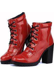 4db78562b5 ... Bota Sapato Fran Coturno Cano Baixo Feminina - Feminino-Vermelho