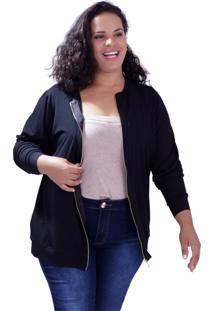 Cardigan Zipper Fernanda Plus Size Vickttoria Vick Plus Size Preto