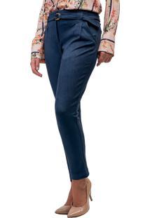 e4152fb6f ... Calça Skinny Mx Fashion Suede Cinto Loren Azul Marinho