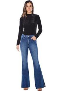 Calça Maria. Valentina Flare M. Victoria Cós Alto Abertura Barra Jeans Feminina - Feminino