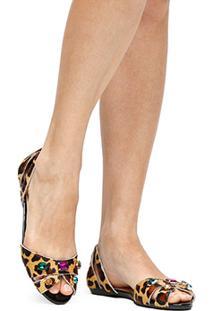 Sapatilha Couro Shoestock Onça Pedras Feminina - Feminino