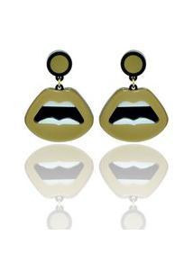 Brinco Una Donna Collection Boca Mini Dourado