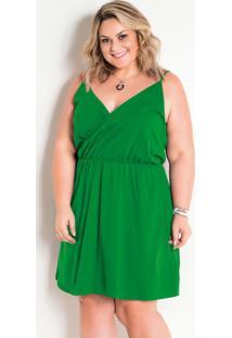 Vestido Verde Transpassado Plus Size
