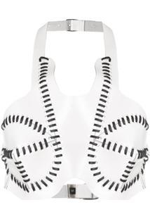 Manokhi Blusa Cropped De Couro - Branco