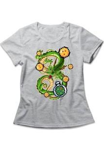 Camiseta Feminina Shenlong Pixel - Feminino-Mescla