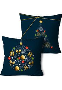 Kit 2 Capas Para Almofadas De Natal Bolinha E Pinheiros Premium 35X35Cm - Multicolorido - Dafiti