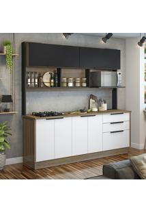 Cozinha Compacta Com Cooktop Vitrum 6 Pt 3 Gv Branca E Preta