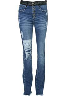Calça Jeans Lança Perfume Flare Destroyed Azul - Kanui
