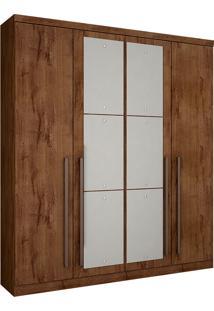 Guarda-Roupa Solteiro Com Espelho 4 Portas Hannover-Novo Horizonte - Canela