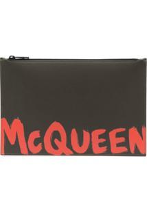 Alexander Mcqueen Logo-Print Clutch Bag - Verde