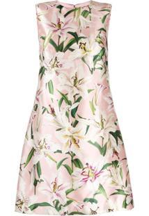 Dolce & Gabbana Vestido De Cetim Com Estampa Lily - Rosa