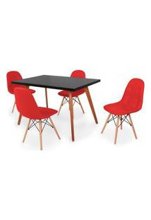 Conjunto Mesa De Jantar Gih 120X80Cm Preta Com 4 Cadeiras Botonê - Vermelho