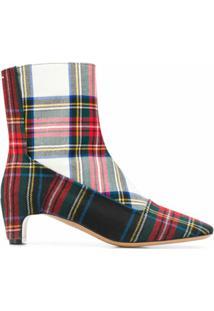 Maison Margiela Ankle Boot Com Estampa Xadrez - Vermelho