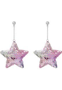 Brinco Le Briju Tecido Estrela Lantejoula Prata Multicolorido - Kanui