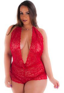 Body Diário Íntimo Plus Size Renda - Feminino-Vermelho