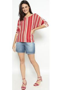 Blusa Geométrica Com Recortes - Vermelha & Begemalwee