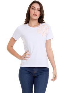 Camiseta Hifen Feminina Com Bordado Branca