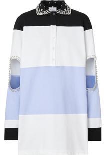 Burberry Camisa Polo Oversized Com Cristal E Vazado - Preto