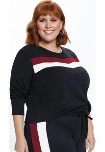 Blusa Plus Size Preta Com Recortes Frontais