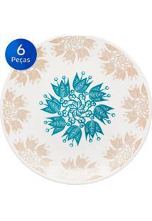 Conjunto De Pratos Rasos 6 Peças Coup Etnia - Oxford - Azul / Branco