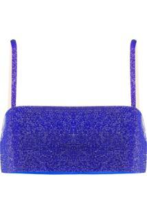 Nuè Blusa Cropped Com Aplicação De Cristais - Azul