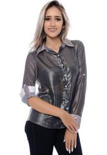 Camisa Bbonnie De Chiffon Transparente - Feminino-Grafite