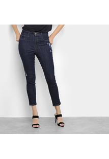 Calça Jeans Lança Perfume Skinny Super High Ankle Puídos Feminina - Feminino-Azul Escuro