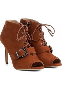 Sandália Couro Shoestock Fivela Feminina - Feminino-Caramelo