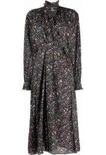 Isabel Marant Étoile Floral-Print Wrap Midi Dress - Marrom