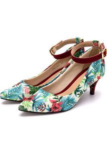 Sapato Scarpin Com Laço Salto Alto Fino Em Tecido Floral Branco - Tricae