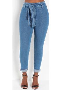 Calça Jeans Hot Pants Skinny Com Faixa Sawary