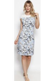 Vestido Listrado & Floral Com Renda- Branco & Azul- Nectarina