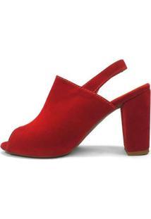 Ankle Boot Zhaceci Feminina - Feminino-Vermelho