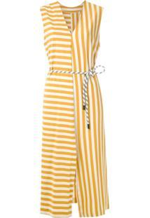 Osklen Vestido Summer Stripe Com Amarração - Amarelo