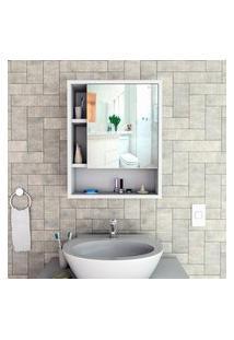 Armário Para Banheiro Com Espelho Slim Branco Lilies Móveis