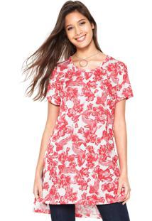 Camiseta Colcci Flores Branca/ Vermelha