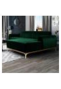 Sofá 245Cm 4 Lugares Com Chaise Direito Pés Gold Molino B-303 Veludo Verde Musgo - Domi